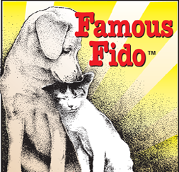 Famous Fido Rescue & Adoption Alliance (Chicago, Illinois) logo with dog and cat cuddling